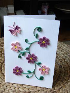 cadouri handmade - quilling art: FQ005 - Flori si fluturi - 10 Lei vanduta