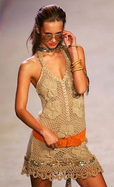 Ivelise Feito à Mão: Vestido Em Crochê! Ponto Redinha Super Simples!
