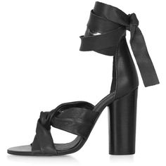 TopShop Rosa Knotted Sandals (180 AUD) ❤ liked on Polyvore featuring shoes, sandals, heels, topshop, black, high heel sandals, black leather shoes, black chunky heel sandals, black heel shoes and leather shoes