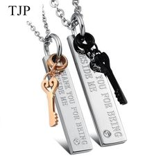 """TJP 2017 Fashion """"Thank you for being beside me"""" Lovers Heart-shaped keys pendants for Women men Stainless Steel Couple Necklace"""