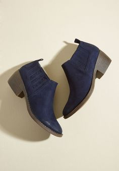 When you step out in these midnight blue ankle boots by BC Footwear, any spontaneous changes in your plans simply feel like a new adventure. You'll find it's impossible not to remain positive in the smooth vegan faux suede, side gores, and faux-stacked heels of this pointed-toe pair - a posh ModCloth exclusive!