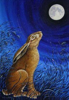 hare across moon - Google Search Luna Moon, Some Pictures, Deep Purple, Hare, Dinosaur Stuffed Animal, Royalty, Bunny, Creative, Artist