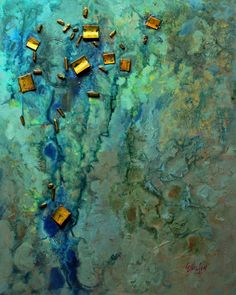 Mixed Media Abstract Painting, Sunken Treasure Carol Nelson Fine Art, painting by artist Carol Nelson via John Skrabalak Original Art, Original Paintings, Art Paintings, Paintings Famous, Abstract Paintings, Watercolor Artists, Texture Art, Texture Painting, Abstract Photography