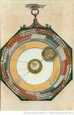Disque mobile déterminant le cours particulier de Mercure, illustrations de Astronomicum caesareum, Petrus Apianus, 1540