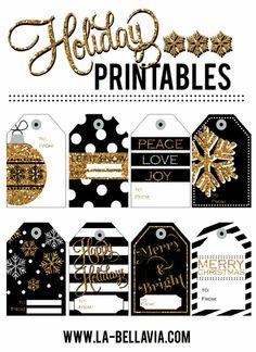 Gold & Black Free Holiday Printable Gift tags! www.la-bellavia.com