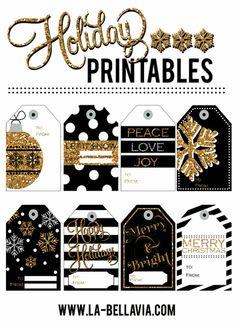 Gold & Black Free Holiday Printable Gift tags! www.la-bellavia.com