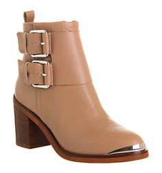 Office Mojo Buckle Taupe Leather - Ankle Boots