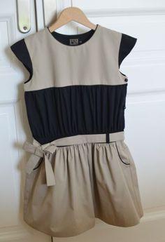 Robe Wimbledon noir et beige - Bbk Creations