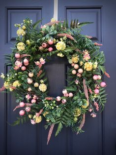 Spring Wreath Pink Yellow Wreaths New Home Gift Housewarming Birthday Mothers Day Fern Wreath Pink Yellow Decor Spring Decorating Door White Wreath, Floral Wreath, Summer Wreath, Spring Wreaths, Turquoise Wreath, Red Geraniums, Spring Door, New Home Gifts, Pink Yellow