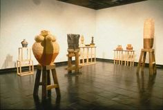 SAM HARVEY MFA 2001, Alfred University.  Although Sam Harvey makes pottery, his thesis exhibition was sculptural works.  I am intrigued by his pedestal designs.