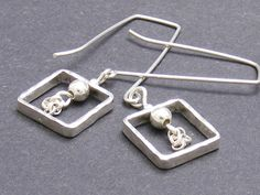 Long Wire Square Earrings By Amygilron On Etsy Square Earrings, Dangle Earrings, Arrow Necklace, Dangles, Wire, Sterling Silver, Chain, Etsy, Jewelry