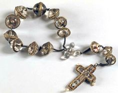 Rosary and Cross. 16th century, Italy  Rock crystal, painted and gilded, with pearls and gilded silver mounts.
