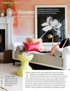 Stylish Slumber: Classics Redefined - Daybeds - Slide 1 of 2 - Traditional Home Magazine - Spring 2014, pg 76