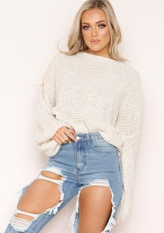 279946478 Missyempire - Heather Cream Knit Jumper Cute Skirts