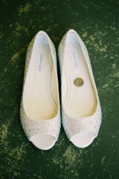 Benjamin Adams Halle Flat Bridal Peep Toe Shoe Wedding Shoes 61% off retail