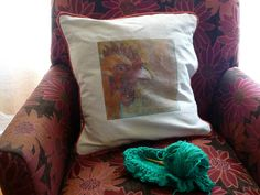 Chicken Pillow  Fun Vintage fabric by Studioshannon on Etsy, $90.00