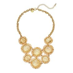 """GS by gemma simone Vintage Filigree Collection Circle Link Bib Necklace, Teens, Size: 18"""", multicolor"""