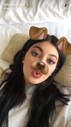 ♡ On Pinterest @ kitkatlovekesha ♡ ♡ Pin: Snapchat ~ Kylie Jenner Dog Filter ♡