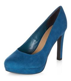 Escarpins Wide Fit bleus à plateforme