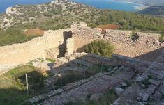 The Area Of Kritinia Castle In Rhodes Offers Tranquility, History And Picture Postcard Views That Will Take Your Breath Away! Picture Postcards, Ancient Ruins, Rhodes, Grand Canyon, Mount Rushmore, Scenery, Castle, Mountains, Pictures