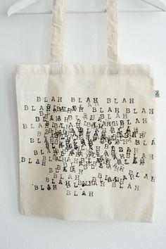 "Organisch katoenen tas ""BLAH BLAH BLAH"" www.noi-z.nl NOI-Z Straightforward Fashion"