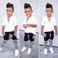 2pcs Toddler Baby Boys T-shirt Tops+Pants Casual Outfits Clothing