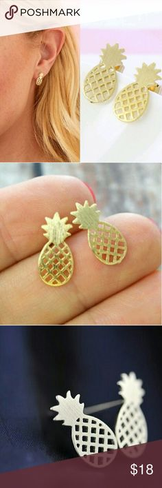 16k Gold Pineapple Stud Earrings Juicy pineapple studs available in 16k Gold or Silver plated!! Nickel and Lead free. Bnwt This listing is for the GOLD pair. Bundle with a Pineapple Necklace for a bundle discount!! Bellamy Sue Boutique Jewelry Earrings