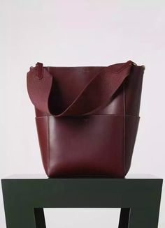 New Arrival!Spring 2016 Celine Collection Outlet-Celine Sangle Seau Bag in Burgundy Goatskin with White Stitching