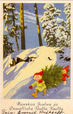 OLAVI VIKAINEN - sulo heinola - Picasa-verkkoalbumit Retro Christmas, All Things Christmas, Christmas Cards, Winter Pictures, December, Fairy, Illustration, Heaven, Magic