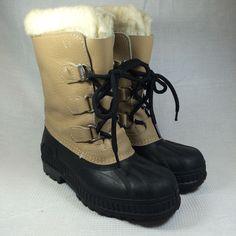 Sorel Winter Boots Leather Black Rubber Snow Womens Size 4 M Warm Lined  #SOREL #SnowWinterBoots #WalkingHikingSnowwinter