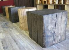 Epic old wood solid block stool