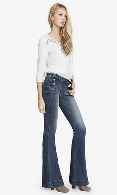 Medium Wash Mid Rise Bell Flare Sailor Jean from EXPRESS... my favorite pair of jeans