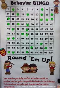 setting this up THIS WEEK! Large 100 chart for the classroom, class rewards when they get BINGO. Earn 1 sticker for perfect class attendance and no tardies, or for good behavior in the hallway, etc. 2 stickers for a compliment, etc. Classroom Discipline, Classroom Rewards, Classroom Behavior Management, Behaviour Management, School Classroom, Classroom Activities, Classroom Organization, Classroom Ideas, Classroom Behaviour