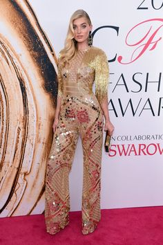 Pin for Later: The Fashion Crowd Goes All Out For the CFDA Awards Red Carpet Elsa Hosk Wearing Naeem Khan.
