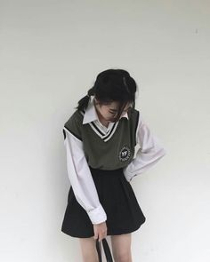 Korean Uniform School, Korean Outfits School, School Uniform Outfits, Korean Girl Fashion, Korean Fashion Trends, Ulzzang Fashion, Korea Fashion, Cute Lazy Outfits, Edgy Outfits