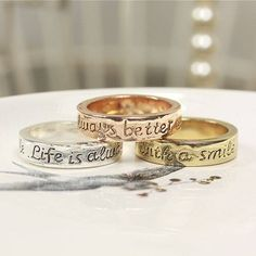 'Better With A Smile' Message Ring from notonthehighstreet.com