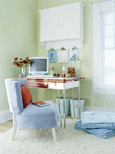 Go Retro Style  What it is: Basement castoffs -- including a vintage chair and metal kitchen table -- repurposed for a hip home office.  How to do it: Use spray paint (make sure you choose a variety appropriate for your table's finish) and slipcovers to refresh the retro relics. Mount a wall cabinet above the desk and hang clipboards from it to keep track of incoming mail, to-dos, and takeout menus.