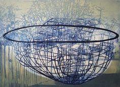 'The Lip' (2012) by English artist & printmaker Katherine Jones. Etching & block-print on paper, 59 x 43 cm. via the artist's site