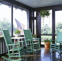 Pretty up your porch or outdoor room with painted furniture. Details + more paint project ideas: http://www.midwestliving.com/homes/decorating-ideas/quick-easy-paint-projects/?page=6