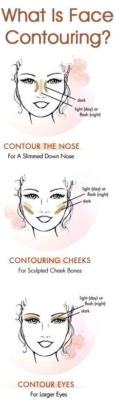 Face contouring uses makeup to highlight a strong feature and underplay a weak one.here are some tips on how to contour your face. Eye Makeup, Contour Makeup, Makeup Tips, Contour Nose, Basic Makeup, Contour Kit, Makeup Tutorials, All Things Beauty, Beauty Make Up