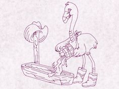 Flamingo Cowboys Redwork Machine Embroidery Designs