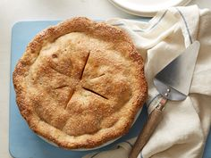 Food Network's Deep-Dish Vegan Apple Pie   Extra-virgin coconut oil is a great substitute for butter in both the pie dough and the apple filling to make this all-American fruit pie vegan-friendly.   #Thanksgiving #ThanksgivingFeast #Dessert