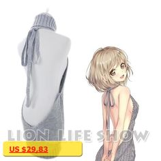 Women Japanese Bare-chested Female Ribbed Anime Sexy Backless Casual Turtleneck Vest Sweater Knit Tank Top cosplay costumes