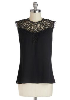 Not to Mansion Top - Mid-length, Black, Lace, Party, Girls Night Out, Sleeveless, Good, Crew, Black, Sleeveless