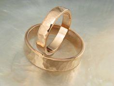 hammered rose gold wedding band set 6mm and 4mm by RavensRefuge