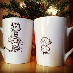 Calvin and Hobbes 2-mug set by PositivelyCupCrazy on Etsy