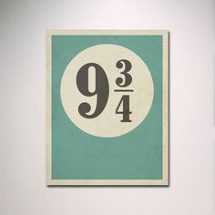 Typografie Poster / Harry Potter inspiriert Gleis 9 3/4 mit Distressed Effekt Druck / minimalistische Wand Kunst