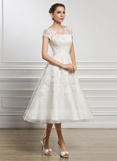 A-Line/Princess Scoop Neck Tea-Length Beading Sequins Zipper Up Sleeves Short Sleeves Beach Hall Reception General Plus No Spring Summer Fall Ivory Tulle Lace Wedding Dress