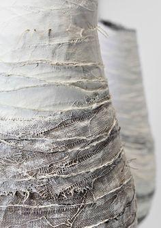 Gizella K. Warbutton - plaster strips & fabric & possibly paint Plaster Sculpture, Plaster Art, Textile Sculpture, Textile Fiber Art, Sculpture Art, Plaster Texture, Texture Art, Body Cast, Concrete Art