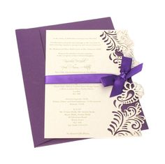 Go for laser-cut stationery with a bold ribbon to introduce your colour scheme #youandyourwedding